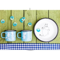 Moomin RETRO Light Blue Enamel Plate 18cm