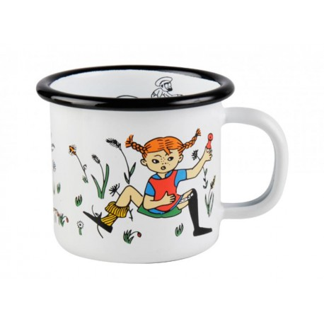Pippi Longstocking Pippi & Mr Nilsson Enamel Mug 1,5 dl