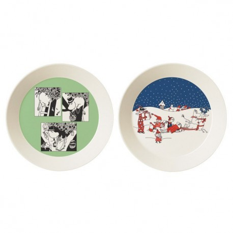 Moomin Plates 2-pack Green & Christmas Greeting Collector's edition