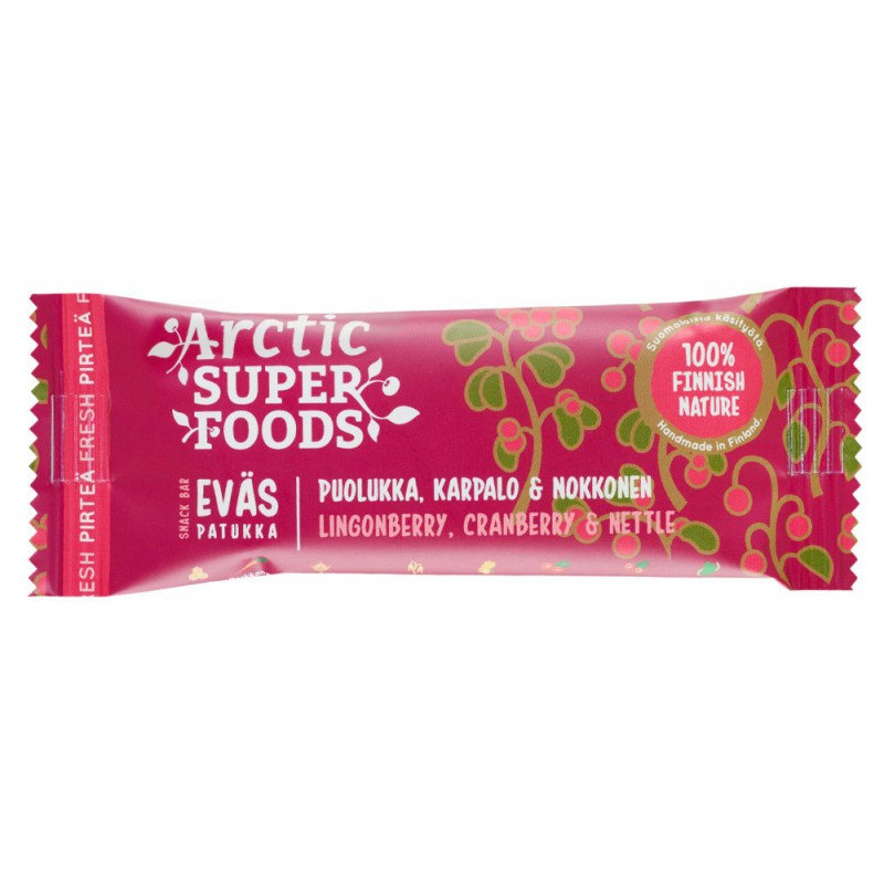 Arctic Superfoods Snack bar 30g Lingonberry, Cranberry & Nettle RETAIL PACK (24 pcs)