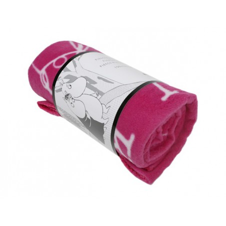 Moomin Fleece Blanket Letters Pink